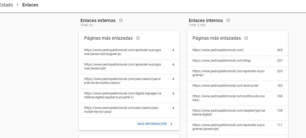 Google search Console enlaces