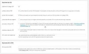 Opciones de Autoptimize 2 WordPress